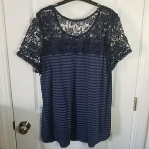 18/20 (2x) lane bryant blue striped top with lace